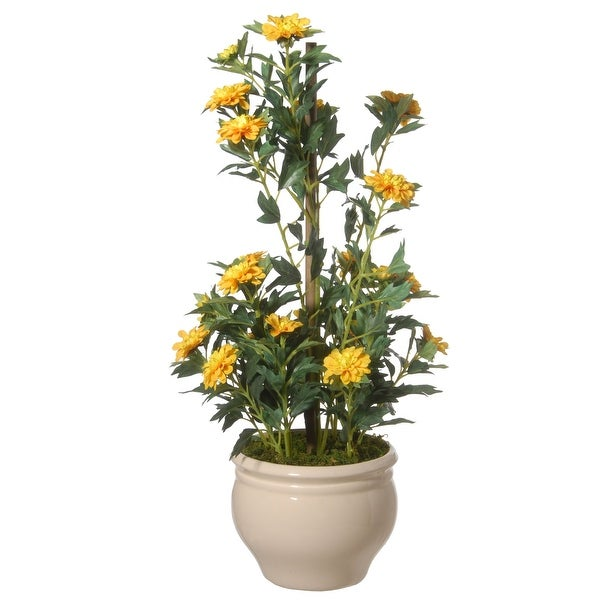 """20"""" Potted Yellow Zinnia Flowers - N/A"""