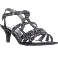 KS35 Alixa Rhinestone Strappy Sandals, Black