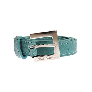Dolce & Gabbana Dolce & Gabbana Green Leather Silver Buckle Logo Belt - 90-cm-36-inches