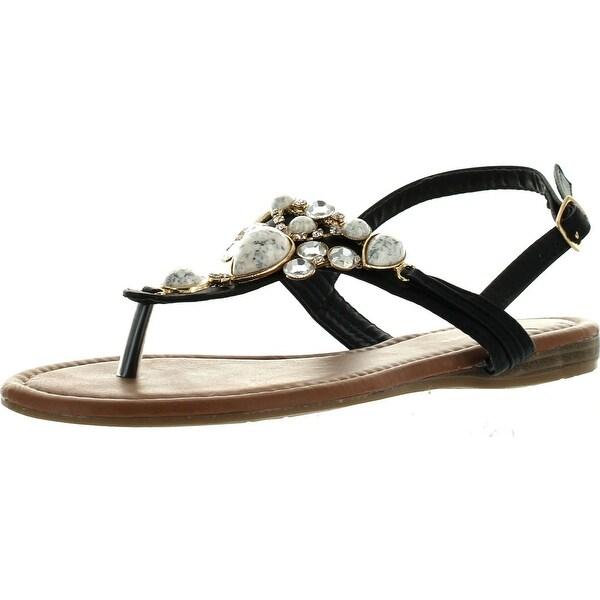 Top Moda Cb-6 Womens T-Strap Slim Strap Gemstone Buckle Flats Sandals - Black