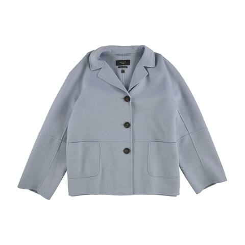 MaxMara Womens Button-Front Jacket, blue, 14