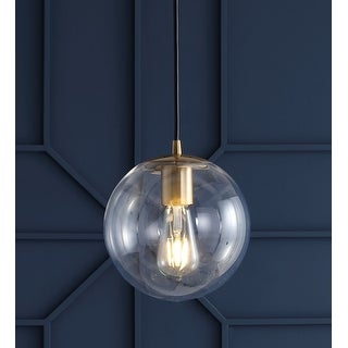 "Link to Bleecker 7.75"" Metal/Glass Globe LED Pendant, Clear/Brass by JONATHAN  Y Similar Items in Pendant Lights"