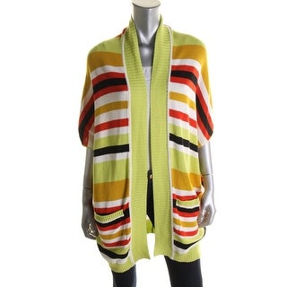 Catherine Malandrino Womens Striped Open Front Cardigan Sweater - 4