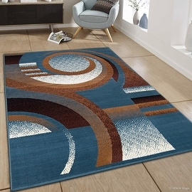 "Allstar blue Area Rug. Contemporary. Abstract. Traditional. Formal. Shapes. Spirals. Circles (5' 2"" x 7' 1"")"