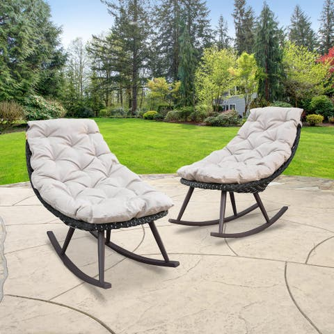 Abbyson Valetta Outdoor Wicker Patio Rocking Chair (Set of 2)