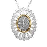 1/6 ct Diamond Flower Pendant in Sterling Silver & 14K Gold