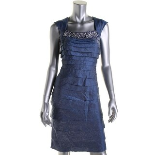 London Times Womens Tiered Sleeveless Party Dress
