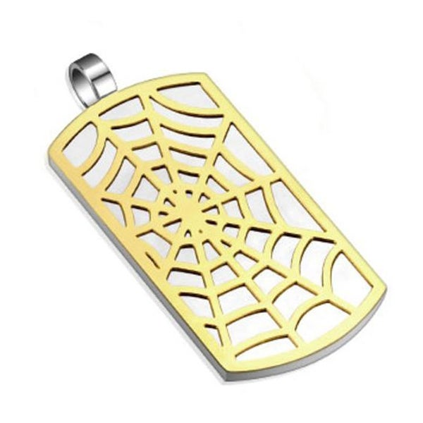 Spider Web Gold IP Pattern Stainless Steel Dog Tag Pendant (24 mm Width)