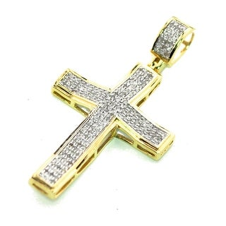 10K Yellow Gold Real Diamond Cross Charm Pendant 1/3ctw 40mm Tall 1.57 Inch (i2/i3, j/k) By MidwestJewellery - White
