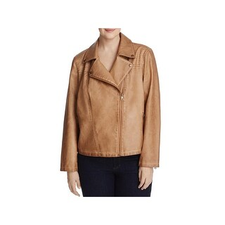 Bagatelle Womens Plus Jacket Washed Faux Leather