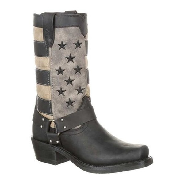 Durango Boot Women's DRD0219 Faded Flag Harness Boot Black/Charcoal Grey Full Grain Leather/Synthetic