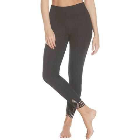 Splendid Women's Quick Dry Striped Trim Activewear Fitness Leggings - Black - XS