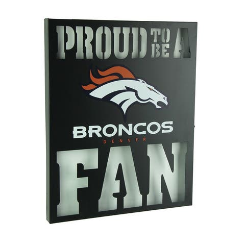 Proud To Be A Denver Broncos Fan Cutout Metal Wall Sign - Black - 14.75 X 12 X 1 inches