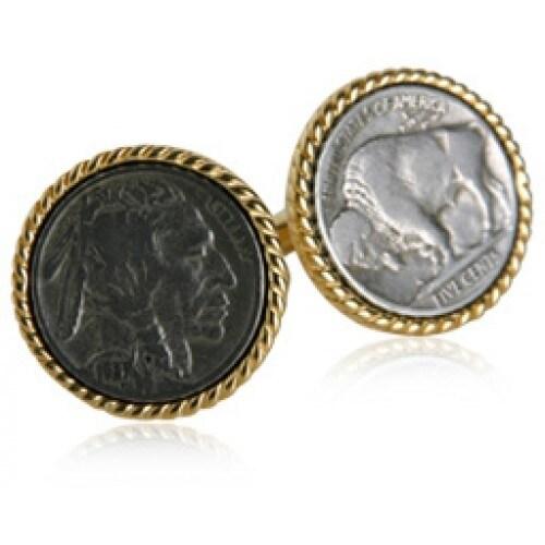 Buffalo Nickel Coin Collector Vintage Indian Head Cuff Links