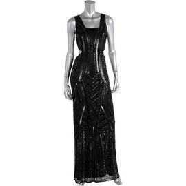 Parker Womens Beaded High Waist Evening Dress
