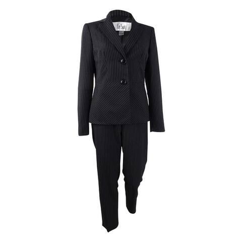 Le Suit Women's Notch-Collar Pinstriped Pantsuit - Black/White