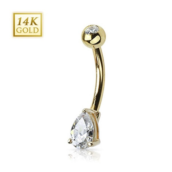 "14 Karat Solid Yellow Gold Navel Belly Button Ring with Prong-Set Teardrop CZ - 14GA 3/8"" Long"