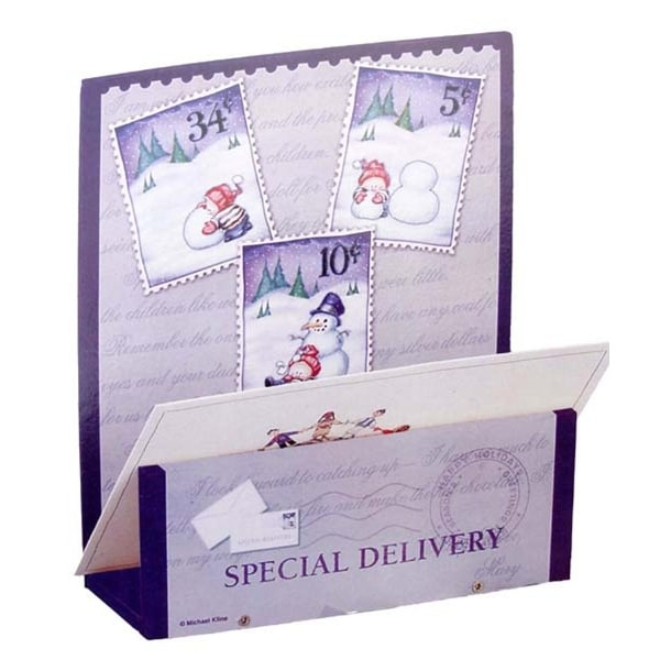 Club Pack of 72 Wooden Special Delivery Snowman Christmas Card Holders - multi