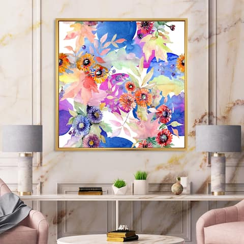 Designart 'Vibrant Wild Spring Leaves and Wildflowers IV' Modern Framed Canvas Wall Art Print