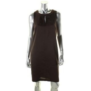 Lauren Ralph Lauren Womens Casual Dress Keyhole Contrast Trim