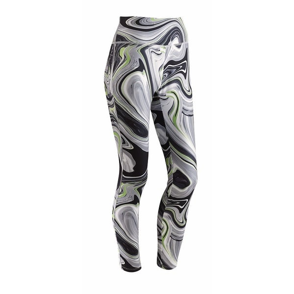 Women's Leggings - Op Art Printed Black And Green Workout Pants