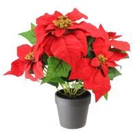 "13.5"" Artificial Red and Green Poinsettia Flower Arrangement in Dark Coffee Vase"
