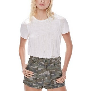 Free People High Rise Camouflage Print Shorts Green Combo