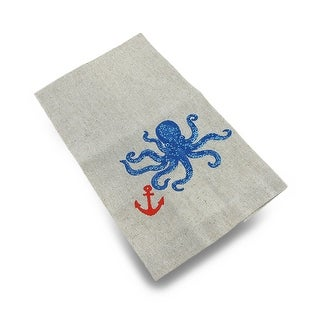 Beige Linen Blend Embroidered Octopus Kitchen Towel