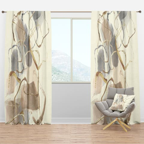 Designart 'Gold Glam Squares VIII' Glam Blackout Curtain Panel