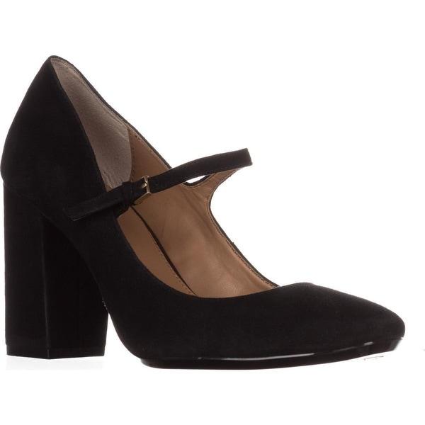 Calvin Klein Cassian Mary Jane Block Heel Detail Pumps, Black
