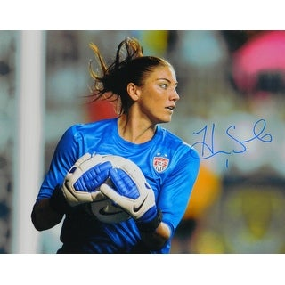 Hope Solo Signed Soccer In Blue Jersey Holding Soccer Ball 16x20 Photo