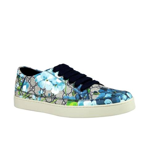 Gucci Men's Bloom Flower Print Blue Supreme GG Canvas Sneaker Shoes 407343 8470