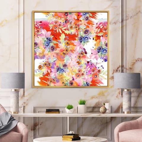 Designart 'Vibrant Wild Spring Leaves and Wildflowers VI' Modern Framed Canvas Wall Art Print