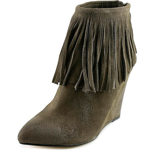 Chinese Laundry Arctic Women Pointed Toe Suede Gray Ankle Boot