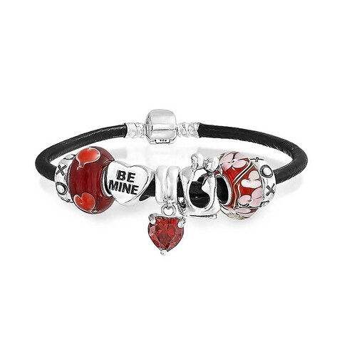 Valentine Love Heart Relationship Couples Themed European Bead Charms Bracelet Genuine Leather For Women Sterling Silver