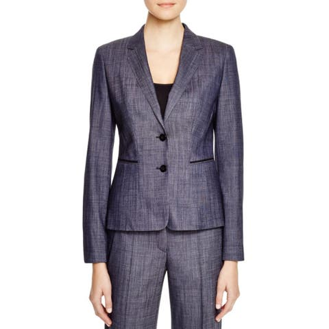 BOSS Hugo Boss Womens Juleani Two-Button Blazer Wool Blend Peplum - Navy - 14