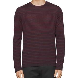 Calvin Klein NEW Burgundy Red Mens Size XL Crewneck Wool Striped Sweater
