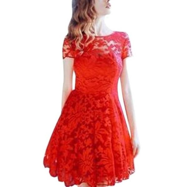 Shop Weweya Women Floral Lace Dresses Short Sleeve Casual ...