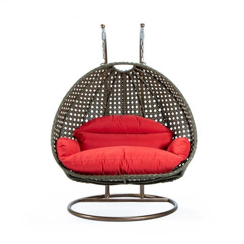 LeisureMod Beige Wicker 2 person Double Hanging Egg Swing Chair