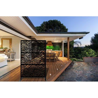 """Laser Cut Metal Privacy Stand Combo Fence, 75"""" x48 """" - BlowingLeaves"""