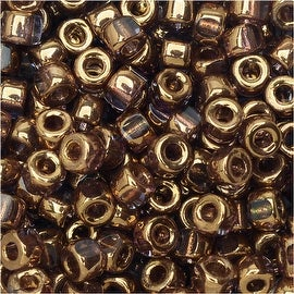 Czech Glass, Tri-Cut 6/0 Matubo Seed Beads, 8 Grams, Crystal Gold Bronze