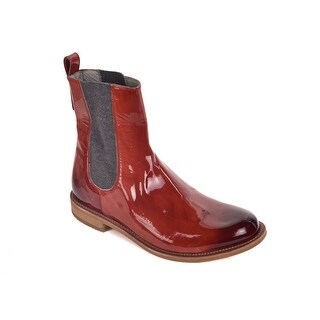 Brunello Cucinelli Womens Burgundy Patent Leather Chelsea Boots