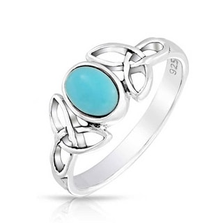 Celtic Knot Triquetra Reconstituted Turquoise 925 Silver Ring - Blue