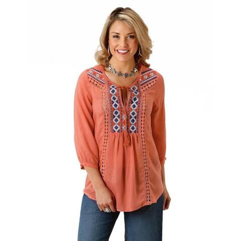 Roper Western Shirt Womens 3/4 Sleeve Scoop Coral