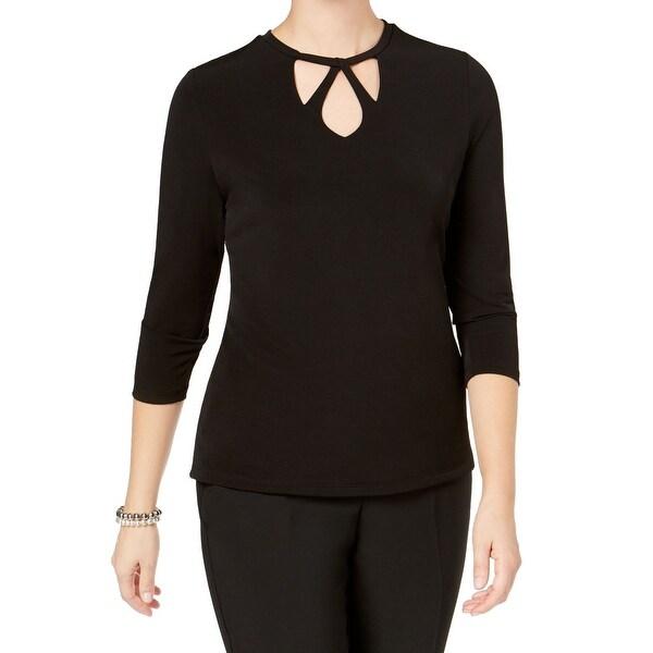 Kasper Black Womens Size Small S Cutout Neck Stretch Knit Top