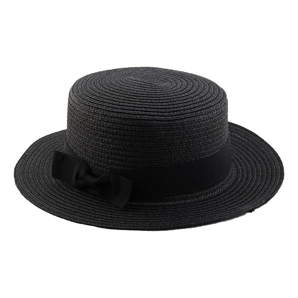 Woman Ribbon Decor Wide Brim Braided Summer Beach Straw Cap Sun Hat Black 2e2893528e9