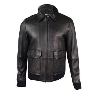 Michael Kors Men's Leather Faux-Fur Collar Bomber Jacket (M, Black) - Black - M
