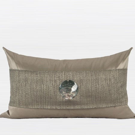 "G Home Collection Luxury Gray Gold Round Shell Splicing Pillow 12""X20"""