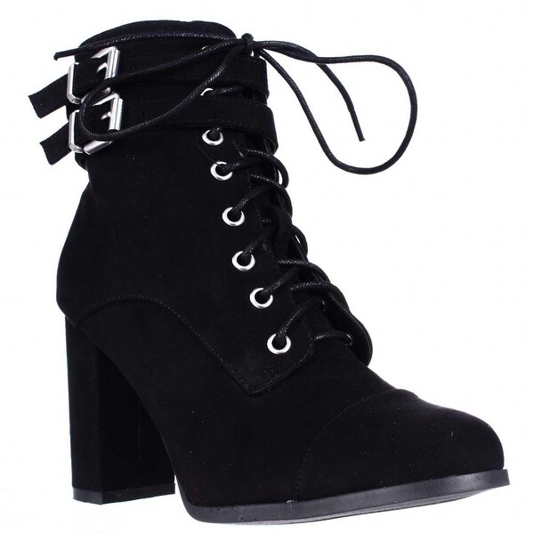 madden girl Klaim Lace Up Combat Ankle Boots, Black
