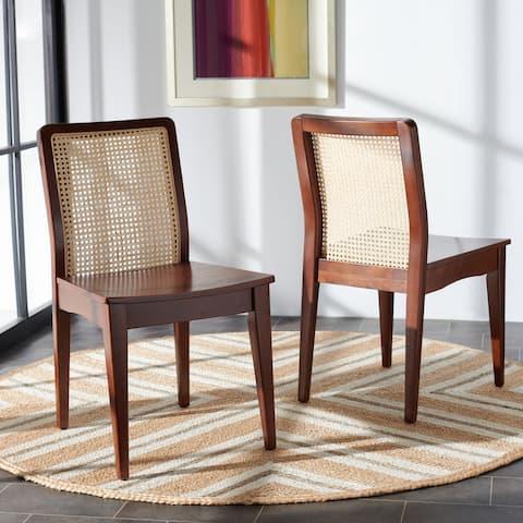 "SAFAVIEH Benicio Coastal Rattan Dining Chair (Set of 2) - 18.9"" W x 22.3"" L x 33.9"" H"